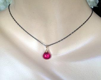 Pink Red Topaz Necklace Wire Wrap Gemstone Dainty Choker Beaded Magenta Fuchsia Topaz Necklace Layering Jewelry Minimalist Sterling Silver