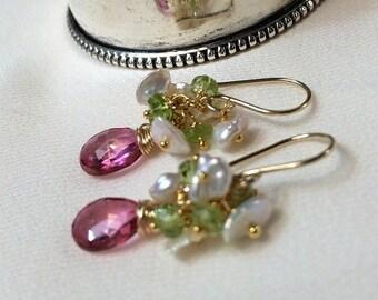 VALENTINES SALE Pink Topaz Earrings Cluster Wire Wrap Pink Green Gemstone Peridot Keishi Pearl Cluster Earrings Minimalist Valentines Day Ea