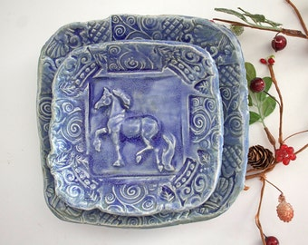 Nesting Bowls - Horse Bowls - Set of 2 - Equestrian gift - Blue