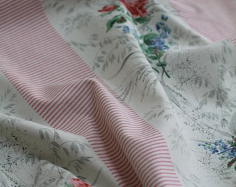 """1950s Floral Rose Fabric Pure Cotton Pink Striped Cushion Pillow Textile 29"""" x 69"""" Pretty Pink White Shabby Elegant Country House  Cloth"""