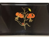 Couroc of Monterey Rectangular Tray, Inlaid Flower Serving Platter, Vintage Tray, Retro Housewares