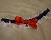 Handmade wedding garter toss LOS ANGELES ANGELS wedding garter on satin