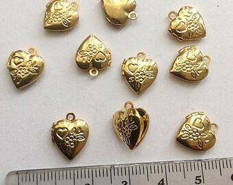 Small Heart Locket floral shiny lockets 8 Pcs
