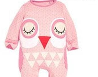 Cute baby owl onesie babygrow romper sleepsuit & hat