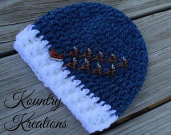 CROCHET Sleigh and Reindeer Hat, Crochet  Hat, Reindeer Hat, Toddler Hat, Baby Boy/Baby Girl/ Crochet Hat/Santa/Christmas  (Ready to Ship)