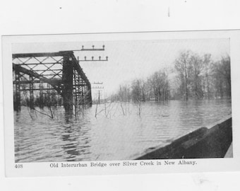 vintage post card old interurban bridge over silver creek in New Albany IN.
