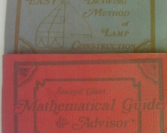 Vintage STAINED GLASS Booklets Full Sized Drawing Method of Lamp Construction Mathematical Guide and Advisor