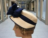 1930's Woven Panama Hat with Lovely Wired Statement Bow MINT