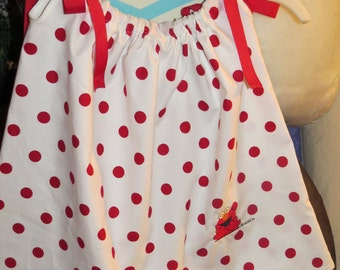 New handmade embroidered Elmo on a  cotton polka dot print  pillowcase dress size 18 months