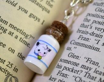Kawaii Milk Glass Bottle Necklace