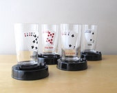 poker night vintage bar glasses coasters ashtray set of four straight flush