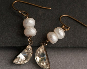 White Pearl Earrings, Stacked Faceted Pearl Earrings With Vintage Half Moon Glass Charms, Festive