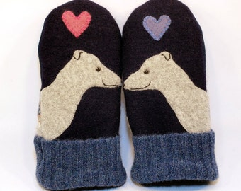 Greyhound Wool Sweater Mittens Whippet Mittens Eco Friendly Dark Blue and Grey Fleece Lining Leather Palm Eco Friendly Size M