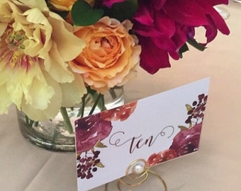 Placecard Holder Wedding Favor escort card holder Gold or Silver  Pearl and Swirls Photo Holders Menu Cards Table Markers and more