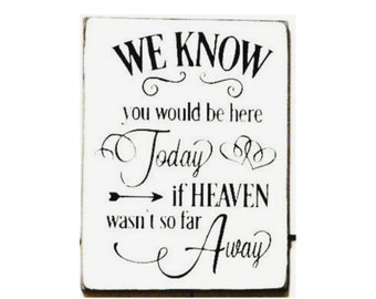 We know you would be here today if Heaven weren't so far away wood sign