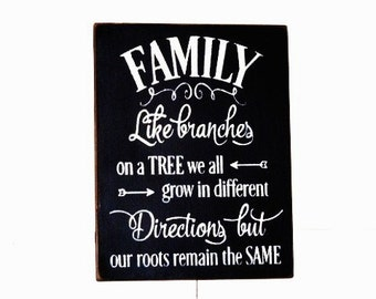 Family like branches on a tree we all grow in different directions but our roots remain the same wood sign