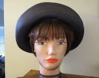 1950s Schiaparelli Navy Straw Hat - Breton Style - One Size Fits All