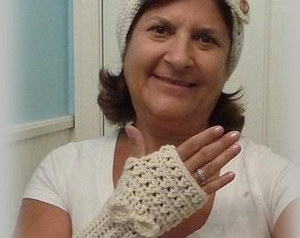 Ear Warmer/Headband, Beige Headband with matching gloves, Beige Ear Warmer, fingerless gloves, texting gloves