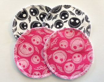 2 Pairs of Cloth Nursing Pads - Pink Black and White Jack Skeleton