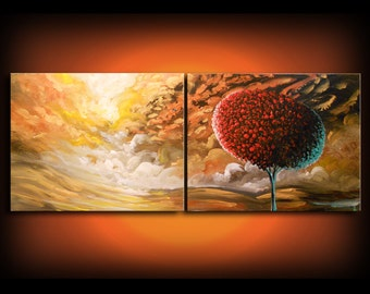 red tree gold texture original painting lollipop tree art acrylic abstract painting landscape wall art colorful acrylic 56 x 22