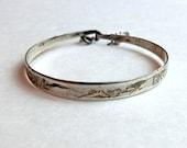 Vintage Silver Engraved Child's Bangle Bracelet Asian Design ca 1940