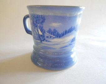 Currier Ives Blue White Mug Shaving Mug Coffee Mug The Old Homestead in Winter Porcelain Mug Collectible Mug Collectible Cup Vintage Mug