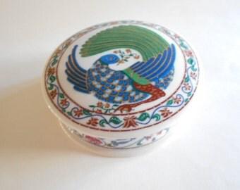 Bird of Paradise Trinket Dish Jewelry Box Bird Trinket Dish Vanity Box Dresser Dish Elizabeth Arden Vintage Byzantium Japan White Porcelain