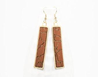 Giraffe Pattern Dangle Earrings - Laser Cut Hand Painted Wood in Brass Setting