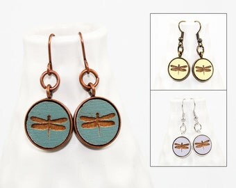 Dragonfly Earrings - Laser Engraved Wood - (Choose Your Color)