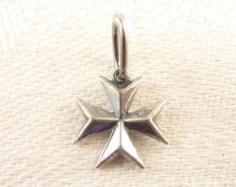 Vintage Sterling Medieval Style Cross Charm