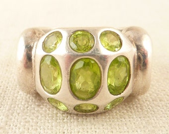 SALE --- Size 8 Heavy Vintage Sterling and Multi Oval Peridot Ring