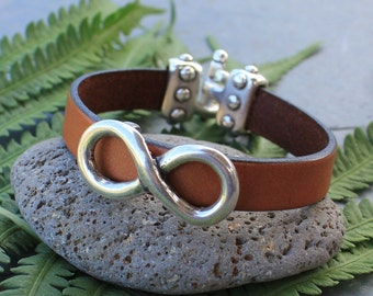 Infinity Sign Bracelet - Wide cognac brown leather strap & antiqued silver slider- hook toggle clasp - Sizes XS - XL - free shipping USA
