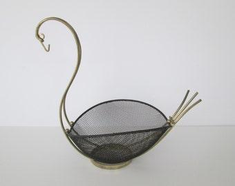 Mid Century Metal Swan Basket