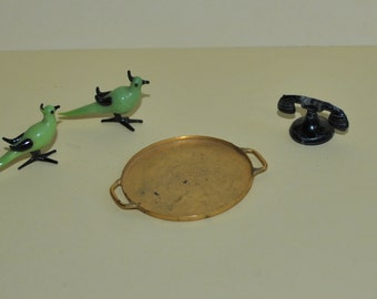 Vintage Dollhouse Miniatures Brass Tray Telephone Pair of Glass Birds