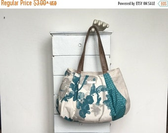 On Sale Large Hobo  TEAL PINA COLADA = pretty floral teal blue grey print ivory linen metallic silver polka dot zipper vegan leather jennjoh