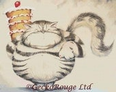 Cat Cross Stitch, David Smith, Cross Stitch Kit, I'm Just Big Boned , Needle Craft Pattern, DMC Materials, CrossStitch, Fat Cat, Cake