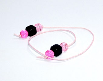 Beaded Bookmark  - Pink - Book Thong - Glass Beads - Gift