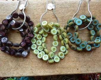 Flower 'button' bead strands from Czech Republic