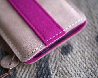 Galaxy S8, Galaxy S8+ Leather Sleeve - ROSA LILA, Organic Leather