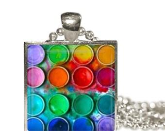Watercolor PAINTS Charm Necklace Messy Paint Box RAINBOW Artist Painter Gift art major art teacher gift Pendant