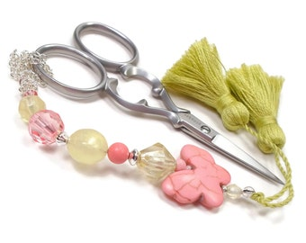 Scissor Fob Peach Pink Butterfly Scissor Minder Beaded Scissor Keeper Needlepoint Quilting Sewing Cross Stitch