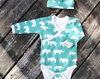 Organic Elephant Onesie - Baby Onesie - Boy Going Home Outfit - Newborn Outfit - Boy Elephant Outfit - Baby Boy Set - MADE TO ORDER