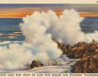 Vintage Postcard - Along Lake Erie Shore in Lake Erie Islands and Peninsula Vacationland - Memorabilia