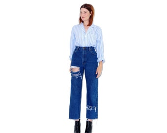 EDDIE BAUER 90's ripped jeans boyfriend jeans extra large XL / high waisted jeans mom jeans distressed ripped jeans cropped jeans 90s grunge