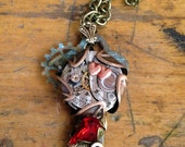 Valentine Key Movement heart Steampunk Necklace