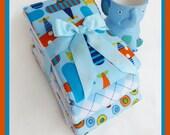 Planes in Baby Boy Blue Diaper Burp Cloth Set in Airplane Sky Blue Designer Burp Cloths Three Pack