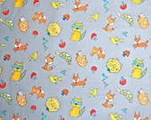 STORE CLOSING SALE - Free Spirit, Dena Designs, Fox Playground, Animal Toss, Grey, 100% Cotton Quilt Fabric, Quilting Fabric