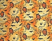 COUPON Code Sale - Owls and Branches, Steele Creek Studio Springs Fabric, 100% Cotton Quilt Fabric, Halloween, Owls, Quilting, SELECT A SIZE