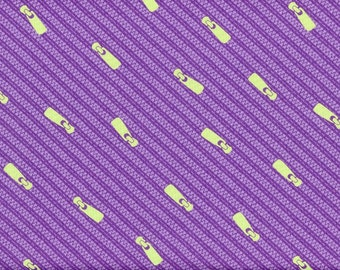 SALE - Moda Fabric, Sewing Box, Zippers, Purple and Green, 100% Cotton Quilt Fabric, Quilting Fabric
