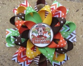 Mickey Mouse Thanksgiving Fall Disney Inspired Custom Boutique 3 Layer Loopy Flower Boutique Hair Bow